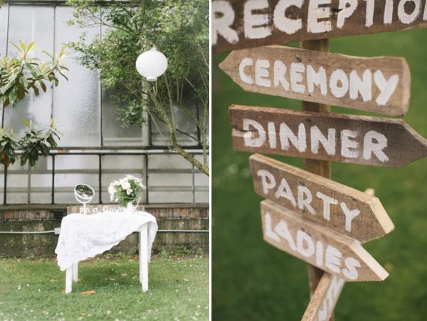 Gartenhochzeit in weiß:Willkommen im Garten, Wegweiser zur freien Trauung