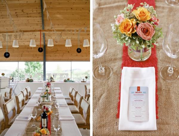 Destination Wedding in Suedafrika: gespeist wurde an langen Tischreihen.