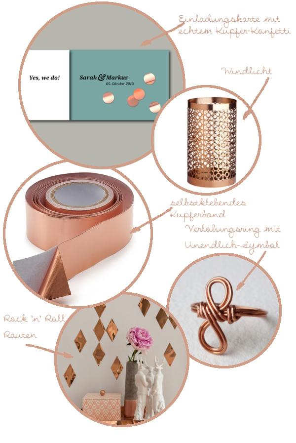 Verrückt nach Kupfer - 5 schöne Produkte aus Kupfer für die Hochzeit