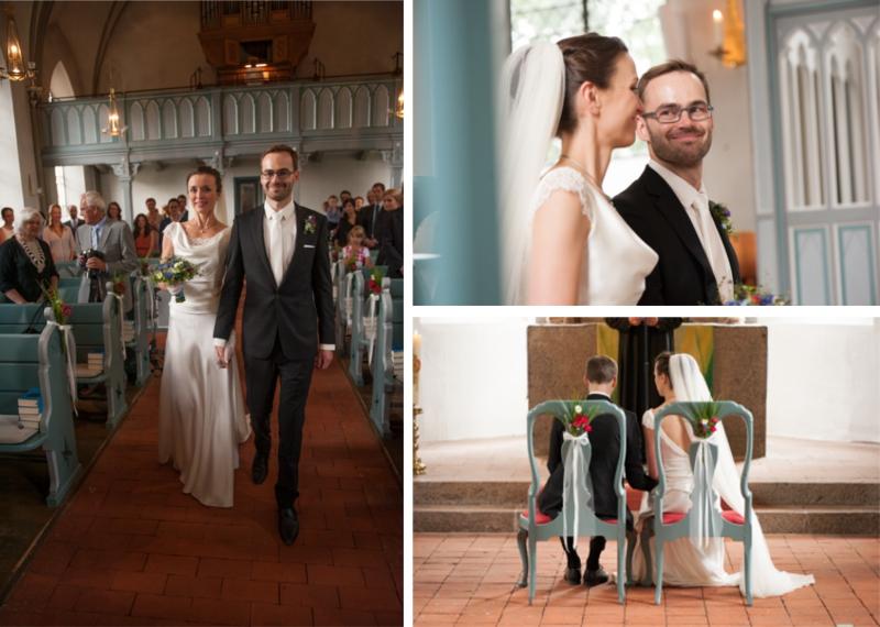 Hochzeit aus dem wahren Leben auf Verrückt nach Hochzeit: DIY Hochzeit in Hamburg von Kathrin Stahl - Brautpaar gemeinsam auf dem Weg zu Altar