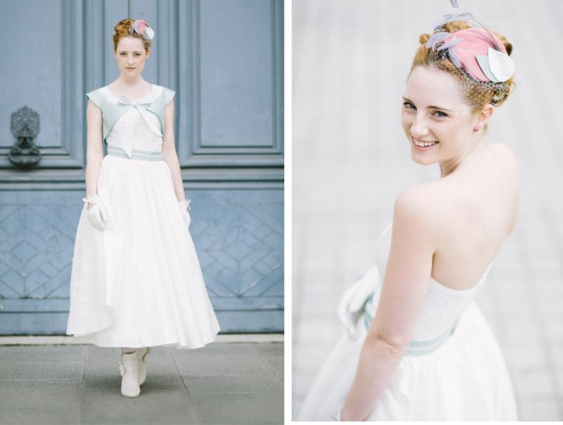 Noni 2014 Audrey: schulterfreies Kleid in Tea Length mit  Bolero in französisch blau