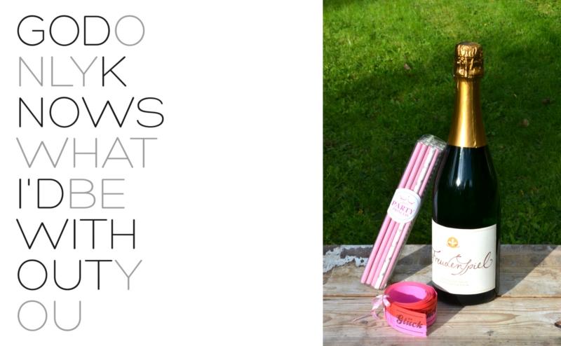 Verrueckt nach Hochzeit Wundertasche von Tim Hüfner mit Sekt von Nintynine Bottles, Trinkhalmen für Partyprincess und einer Rolle Glück von der feinen Billeterie