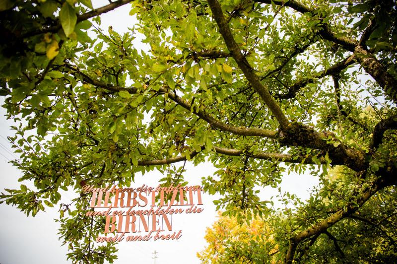 Verrückt nach Hochzeit: kupferner Schriftzug im Baum als Hintergrund für eine herbstliche Trauung  (Foto: Schelke Fotografie)