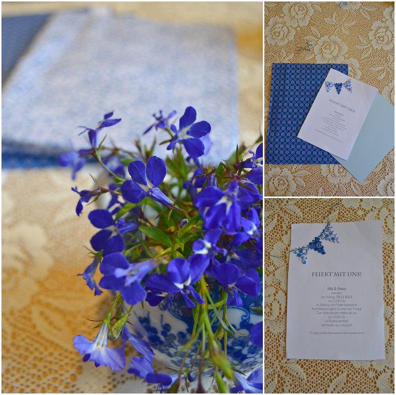 Anleitung für eine diy Einladungskarte mit Wimpelgirlande aus Blümchen-Stoff von Verrueckt nach Hochzeit