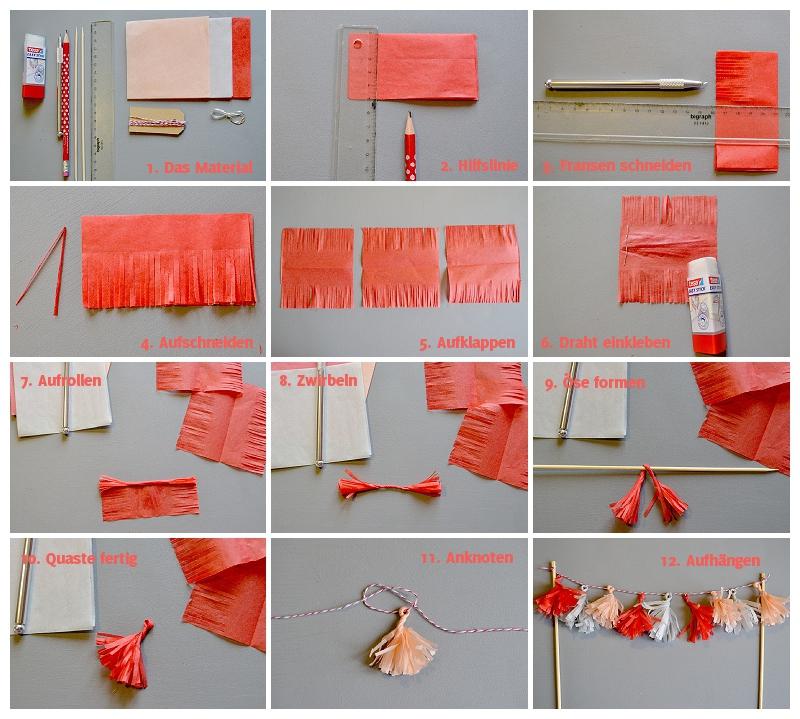Hochzeitsdeko zum selbermachen: DIY-Quastengirlande für eure Hochzeitstorte | Verrueckt nach Hochzeit