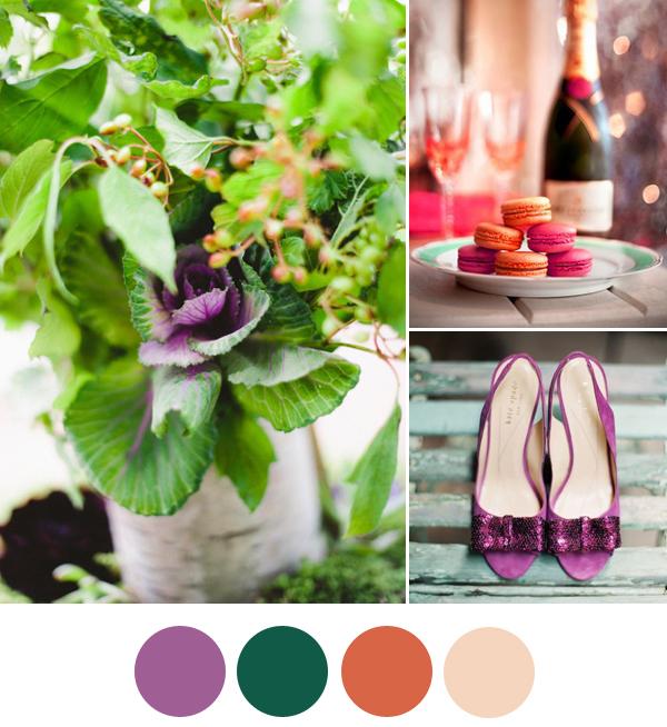 VnH Ferien-Programm mit Evet Ich Will: Mood Board Radiant Orchid Emerald Tangerine Tango Blush | Verrueckt nach Hochzeit