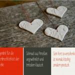 Drei Gründe für Herzen aus Porzellan von Elena Krafft