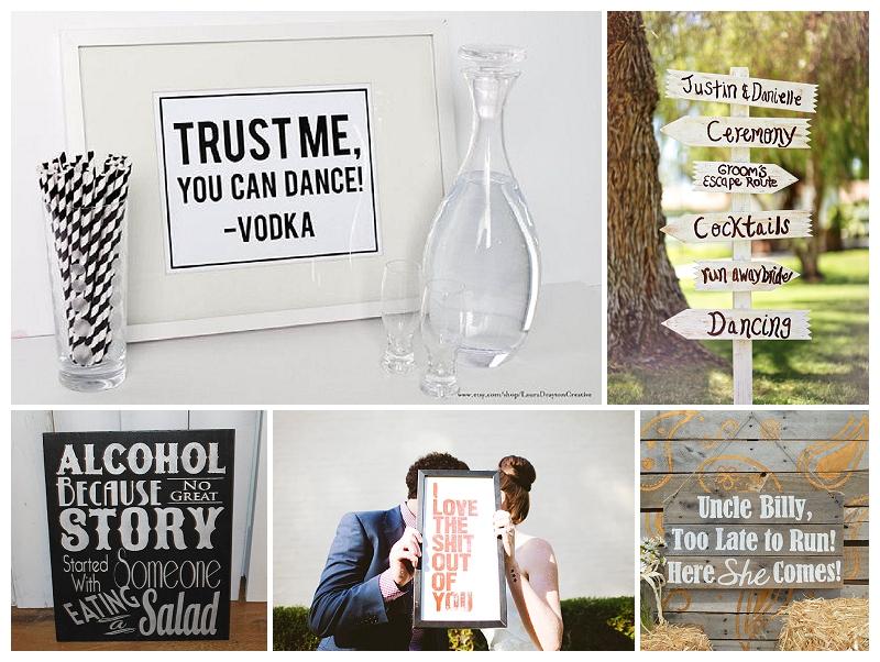Verrueckt nach Hochzeit: 5 Dinge, die Hochzeiten lustiger machen - 1. lustige Schilder