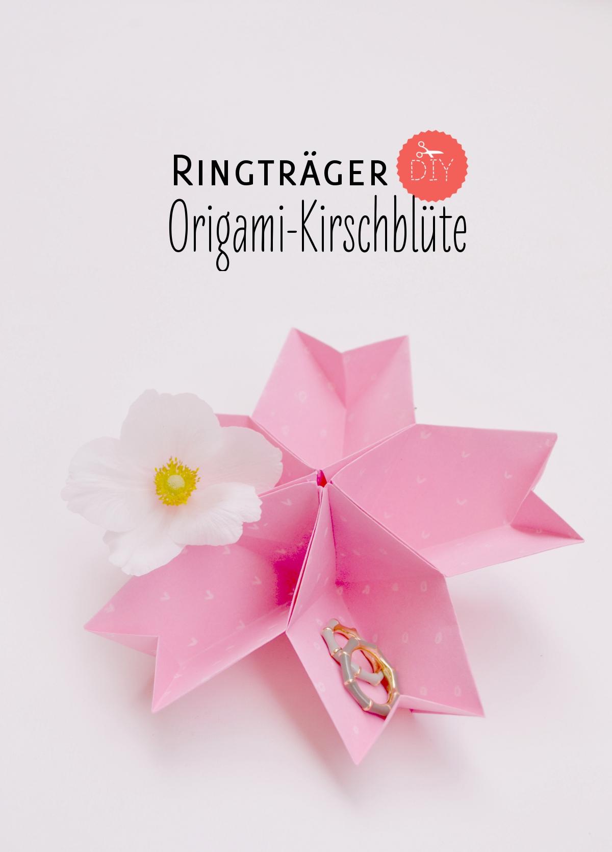 Origami-Kirschblüte als Ringkissen selbermachen | Verrueckt nach Hochzeit