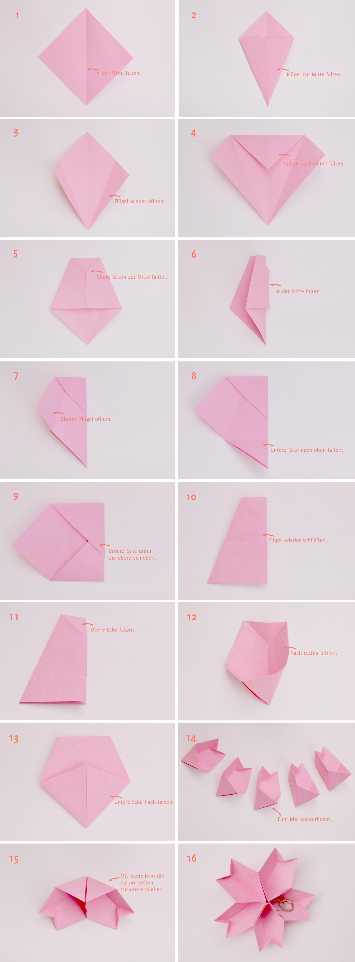 Anleitung: Origami-Kirschblüte als Ringtäger | Verrueckt nach Hochzeit