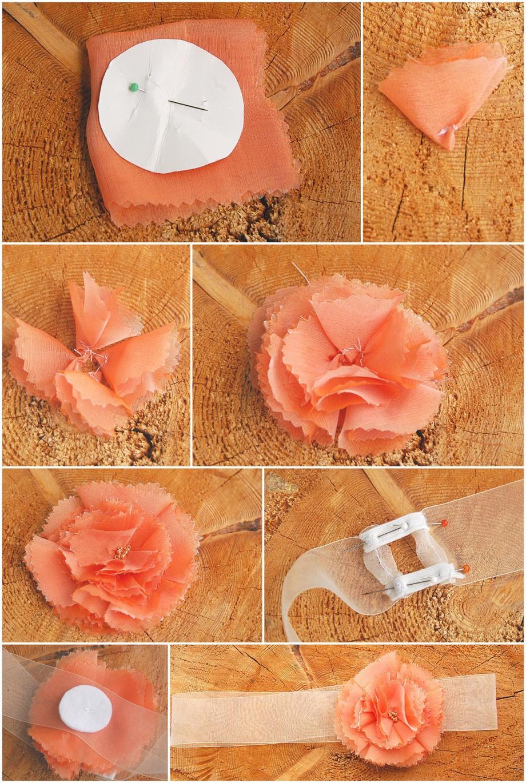 DIY: Haarschmuck für die Hochzeit eine Blüte aus Chiffon | Verrueckt nach Hochzeit